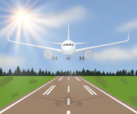 Illustration vectorielle d'un avion d'atterissage ou de décollage avec de la forêt, de l'herbe et du soleil sur le fond du ciel.