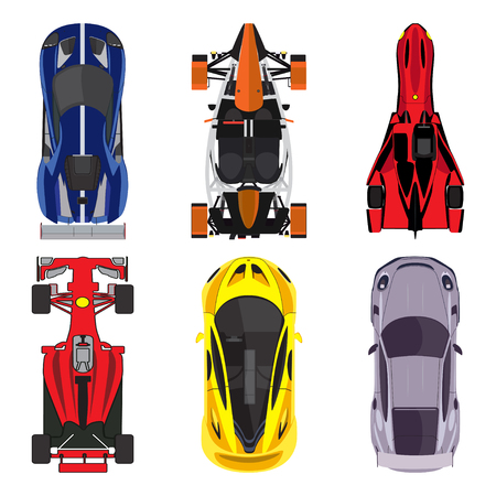 dragster: Sport and racing cars top view icons set isolated on white background. vector illustration Illustration