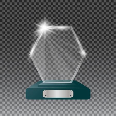 Glass trophy awards vector illustration. The transparent trophy for award.