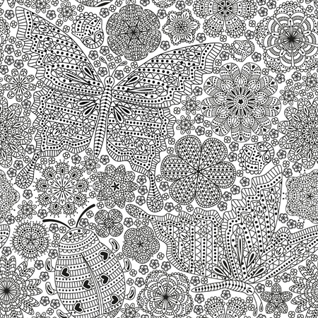 seamless pattern or template with butterfly ladybug and many