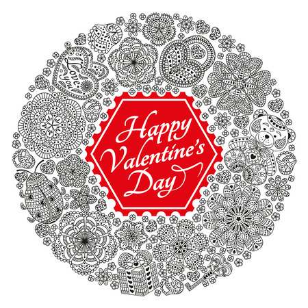 Valentines Day greeting card with many ornate elements. Vector illustration. Illustration