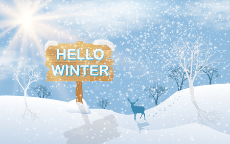 Winter landscape of plains with trees and deer on the background of the sun, with text hello winter, Vector illustration