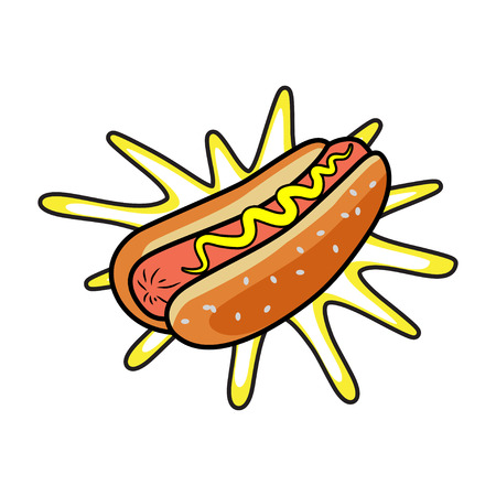 fastfood: Hotdog. Vector isolated flat illustration fast food for poster, menus, brochure, web and icon fastfood.