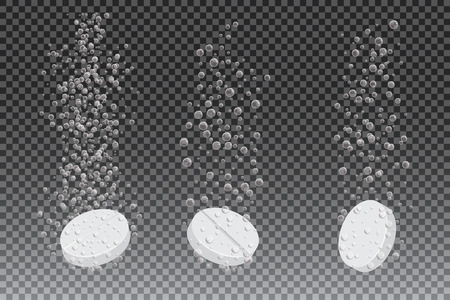 fizzy tablet: Soluble drug with fizzy trace isolated on checkered background, vector illustration. Vitamin in water effervescent, three dissolving tablets. Illustration