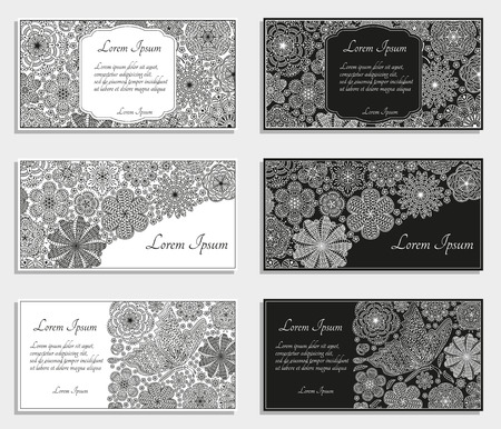 Greeting cards or templates with stylized flowers. Vector illustration. Illustration