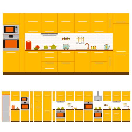 Kitchen interior design set. Front view. Vector illustration.