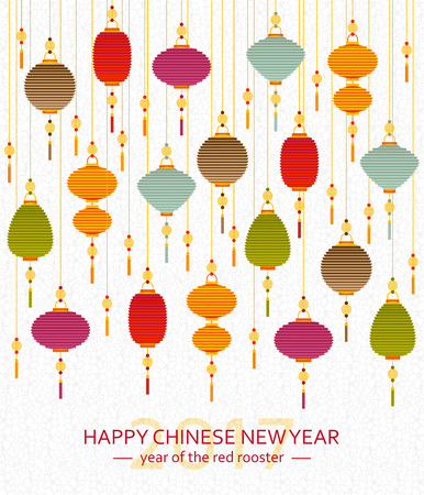 Colorful Chinese paper street lanterns background in flat style. New Year greeting card. Vector illustration.