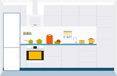fridge lamp: Kitchen interior design. Front view. Vector illustration. Illustration