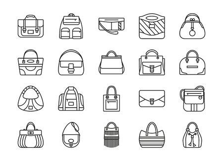 duffel: Set of contour line icon. Different women bags. Vector illustration