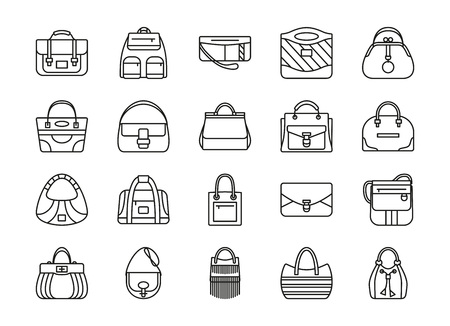 Zestaw ikon linii konturu. Różne torby damskie. Ilustracji wektorowych Ilustracje wektorowe
