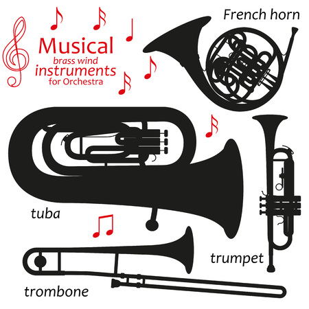 brass wind: Set of silhouette icons. Musical brass wind instruments for orchestra. Vector illustration