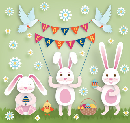 pigeon egg: Cute Easter background in paper art style. Vector illustration. Illustration