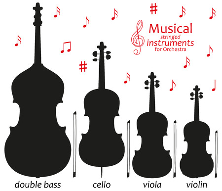 シルエット アイコンのセットです。管弦楽のための音楽の弦楽器。ベクトル図  イラスト・ベクター素材