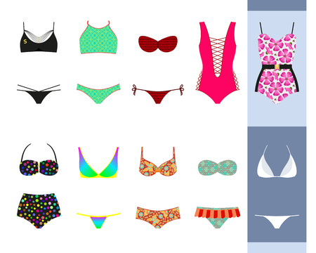 Swimsuit set. Modern and retro design for different female figures. Vector illustration.