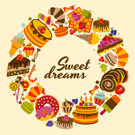 Sweet food cute background. Vector illustration.