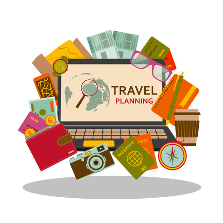 vacation with laptop: Travel planning flat concept. Vector illustration.