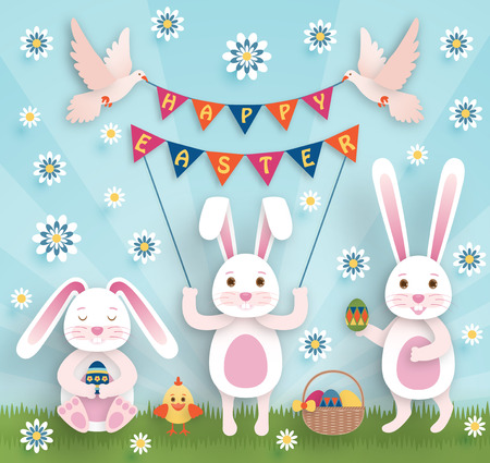 Cute Easter background in paper art style Vector illustration Illustration