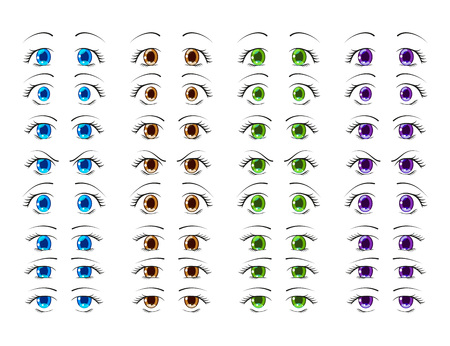 Cute Anime Eyes In Manga Style Showing Various Human Emotions Vector Illustration Stock