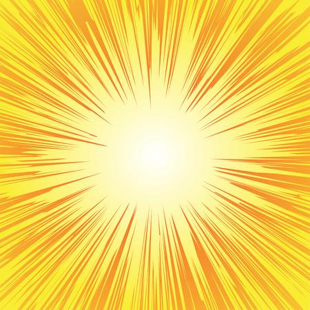 슈퍼 히어로 프레임, 만화 방사형 라인 배경, 만화 또는 애니메이션 속도 그래픽 질감, 폭발 벡터 일러스트 레이 션, 직사각형 싸움 스탬프 카드, 태양