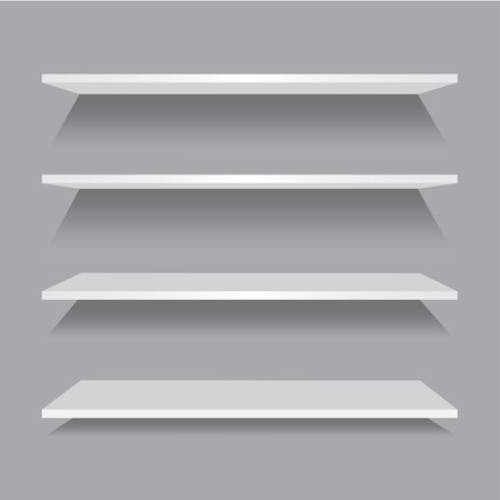 Vector empty wooden shelf isolated on checkered background. Illustration