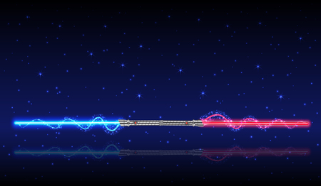 Light swords. Weapon, shiny fight vector illustration