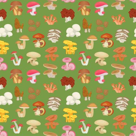 morel: Edible mushroom seamless pattern. Flat icons. illustration. Illustration