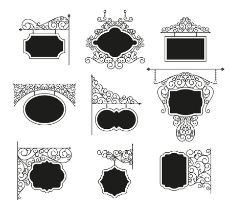 cast iron: Forged metal signboards set. Linear design. Vector outline illustration isolated on white. Illustration