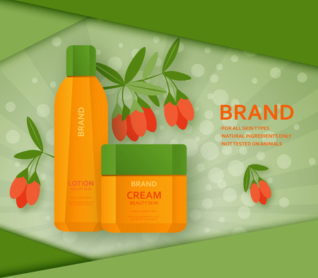 Cream and lotion bottles with its ingradient berry goji at the back. Vector illustration.