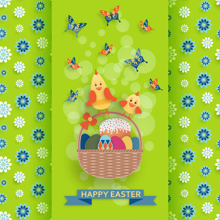 Cute Easter background in paper art style. Vector illustration. Illustration