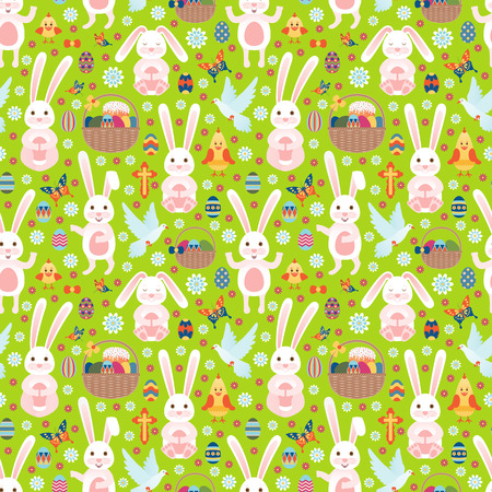 Easter seamless pattern with white bunny. Vector illustration.