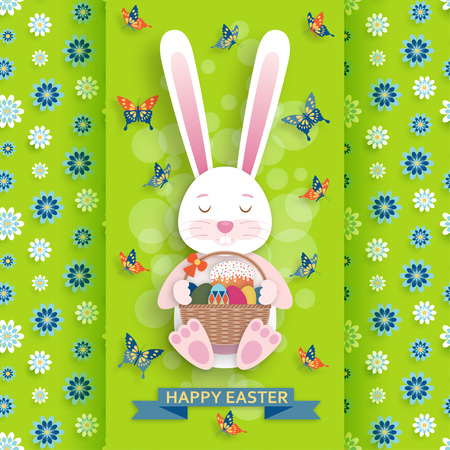 Cute Easter background with bunny and wicker. Vector illustration.