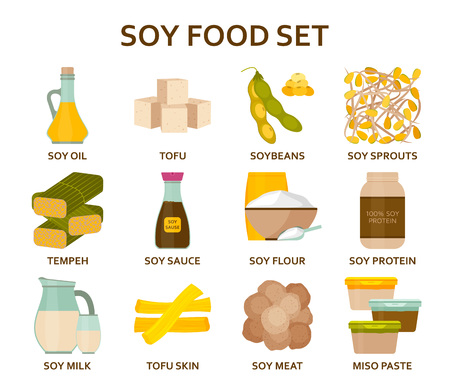 Soy food flat icons set. Vector illustration.