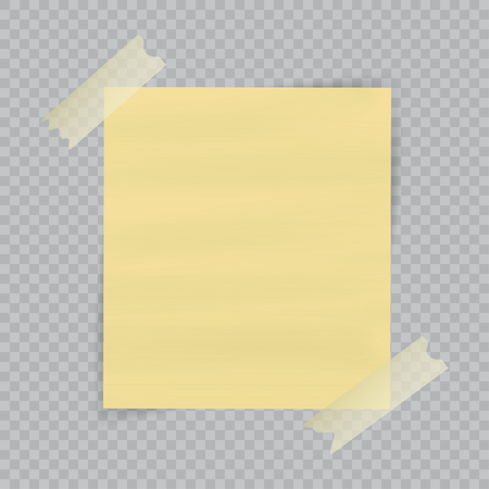 tack: Paper sheet on translucent sticky tape with transparent shadow isolated on checkered background. Empty yellow note template for your design. Vector illustration.