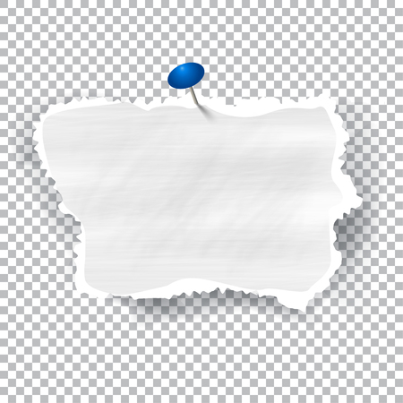 disrupt: Torn piece of white paper with ripped edges and copyspace, vector illustration. Illustration