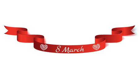 Vector illustration realistic ribbon on the topic 8 March International Women s Day.