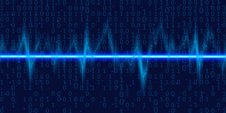 Sound waves oscillating glow with binary code , neon light. Abstract technology background , vector illustration.