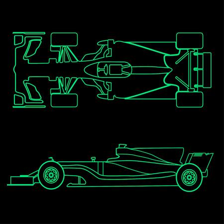 フォーミュラカー、黒い背景に分離されたレーシングカーの線形光のシルエット。平面図と側面図。ベクトルの図。  イラスト・ベクター素材