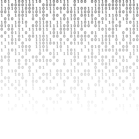 Binary code black and white background with digits on screen. Algorithm binary, data code, decryption and encoding, row matrix, vector illustration.