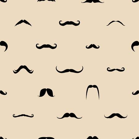 ビンテージお父さん口ひげがシームレスなパターンをベクトル。背景のヒップスター髭紳士の口ひげのイラスト。  イラスト・ベクター素材