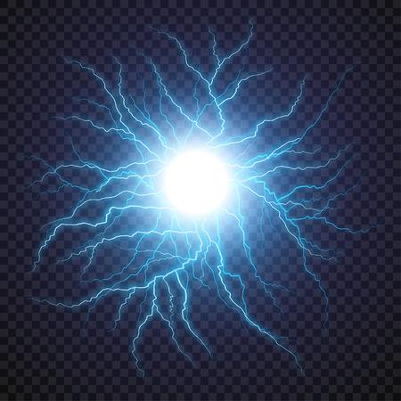 번개 플래시 빛 천둥 투명 배경에 스파크. 벡터 공 번개 또는 전기 폭풍 또는 하늘에서 벼락 폭발. 인간의 신경 또는 신경 세포 시스템의 자연 현상. 일러스트