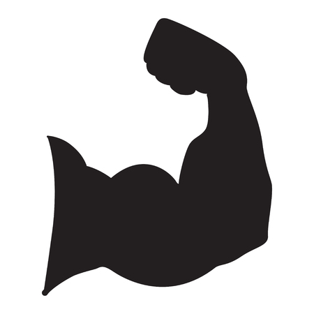 Strong power, Silhouette of arm muscles vector icon.