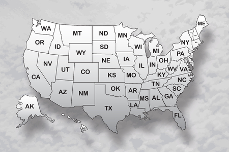 Poster map of United States of America with state names and shadow on the sky background. Black and white print map of USA for t-shirt, poster or geographic themes. Vector Illustration.