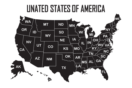 Poster map of United States of America with state names on the white background. Black and white print map of USA for t-shirt, poster or geographic themes. Vector Illustration.