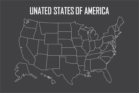 주 경계를 가진 미국 선형지도. 블랙에 고립 된 빈 흰색 윤곽선입니다. 벡터 일러스트 레이 션.