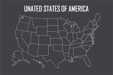 USA linear map with state boundaries. Blank white contour isolated on black. Vector illustration.