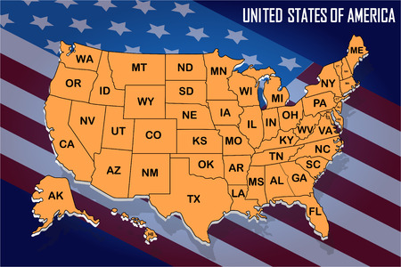 Poster map of United States of America with state names on the flag background. Orange print map of USA for t-shirt, poster or geographic themes. Vector Illustration.