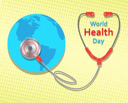 노란색 배경에 세계 건강의 날 개념입니다. 벡터 일러스트 레이 션.