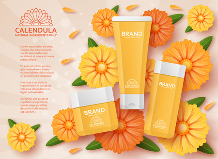 Natural cosmetic template with calendula. Vector illustration.
