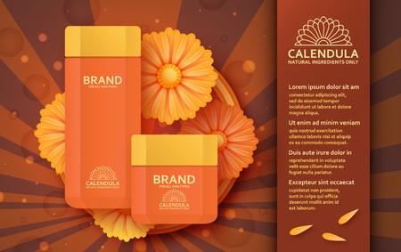 calendula: Natural cosmetic template with calendula. Vector illustration.