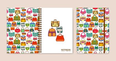 Conception de couverture pour les cahiers ou les cahiers avec des sacs à main. Illustration vectorielle. Vecteurs